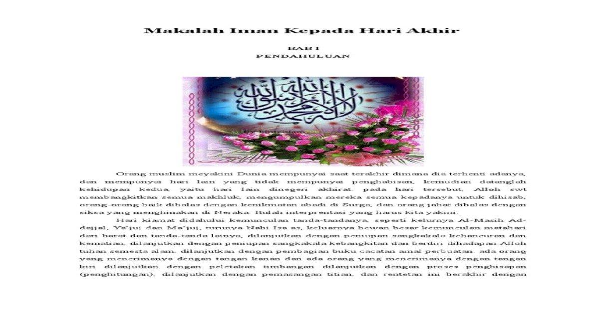 Makalah Iman Kepada Hari Akhir - Download PDF